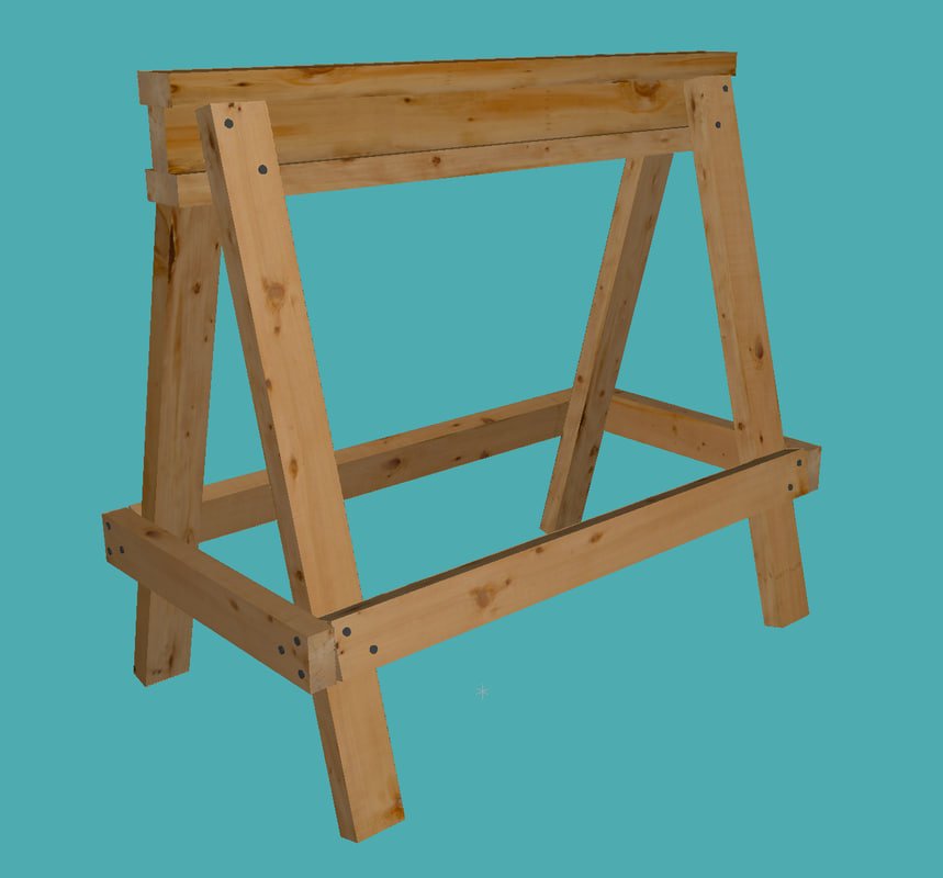 sawhorse constructed 2x4s 3d model