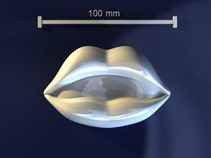 3d model lips mold hand