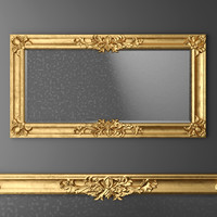 3d baroque frame mirror model