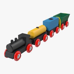3d wooden toy train model