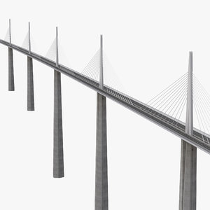 millau viaduct bridge france 3d model