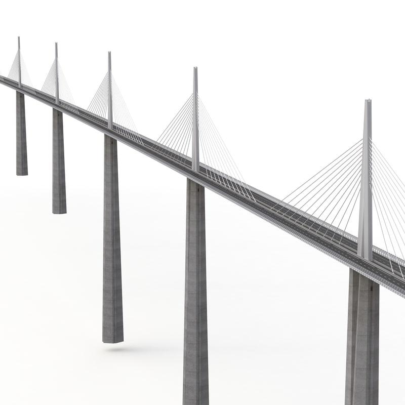 millau viaduct bridge france 3d model