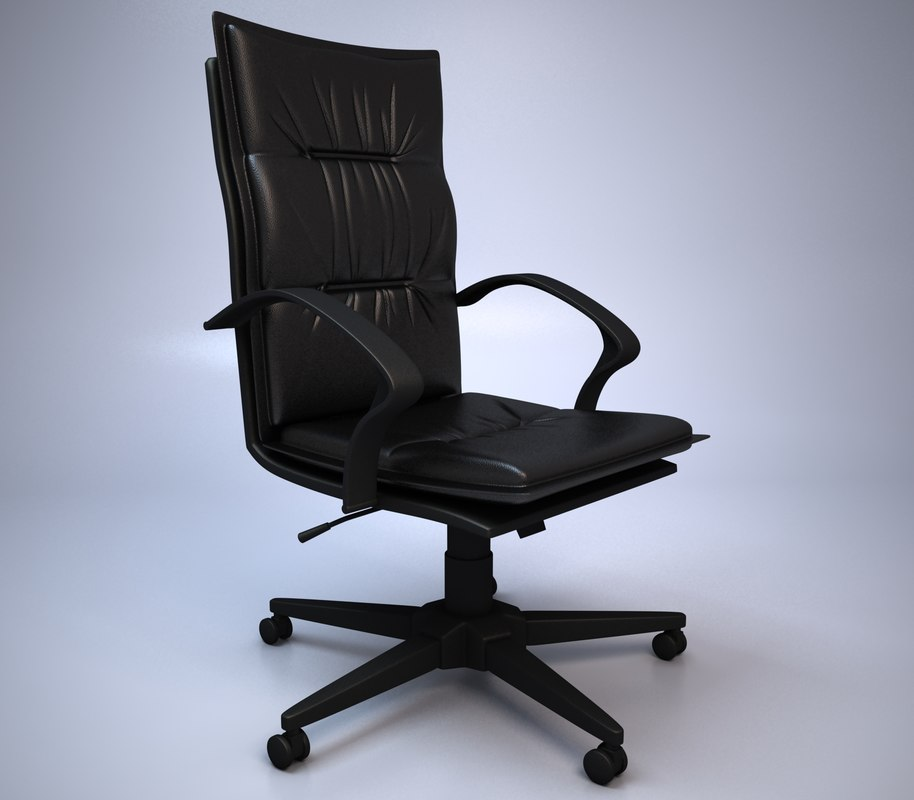 black leather office chair 3d model