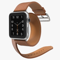 Apple Watch Hermes 42 Double Tour Stainless Steel Case Leather Band 2