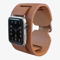 Apple Watch Hermes Cuff 42mm Stainless Steel Case Leather Band