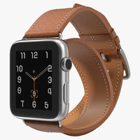 Apple Watch Hermes 42mm Double Tour Stainless Steel Case Leather Band