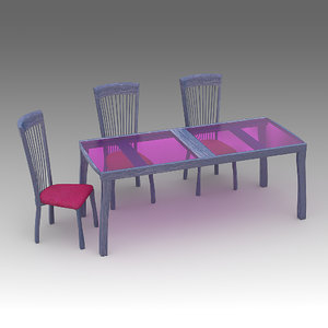 3d model chairs table
