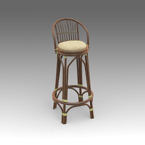 3d model rotang bar chair