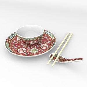 3d traditional chinese porcelain rice