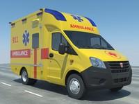ambulance gazelle modelled 3d 3ds