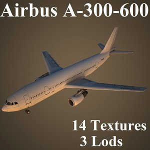 airbus a-300-600 airlines 3d max