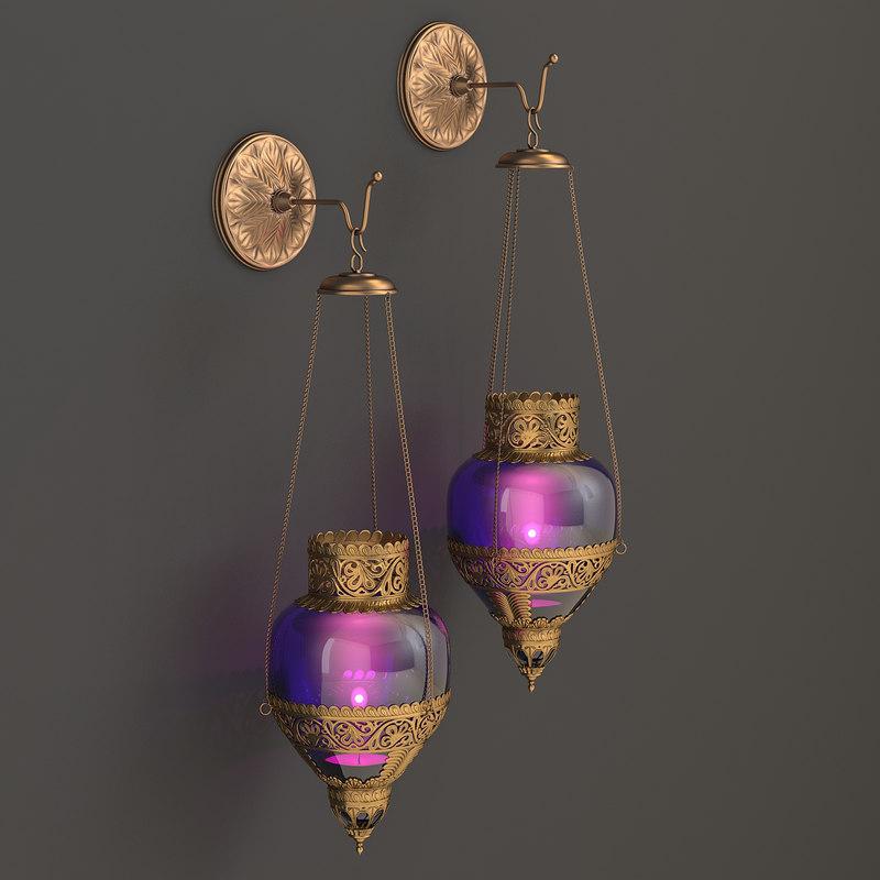 toscano design sconce oriental 3d model