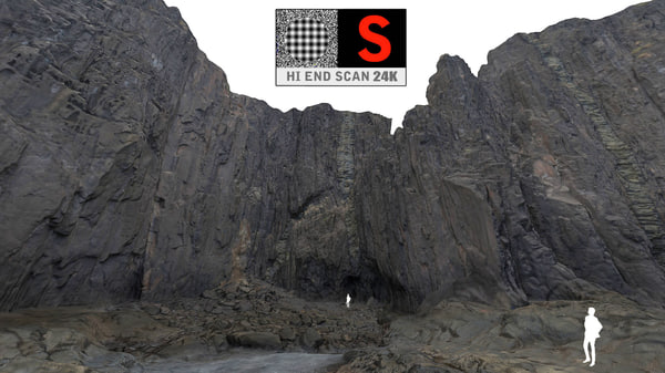 giant rock cliffs ultra 3d model