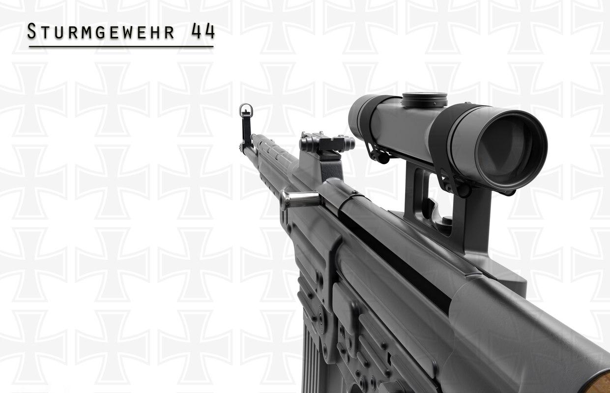 3d model mp44 assault rifle