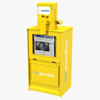 Classic Newspaper Box Yellow 3D Model