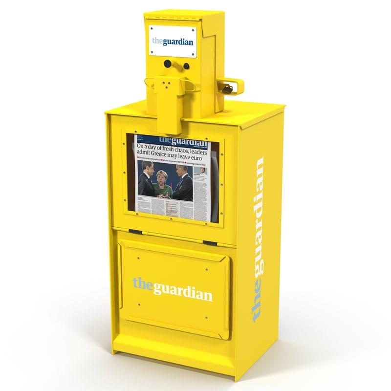 3d classic newspaper box yellow model