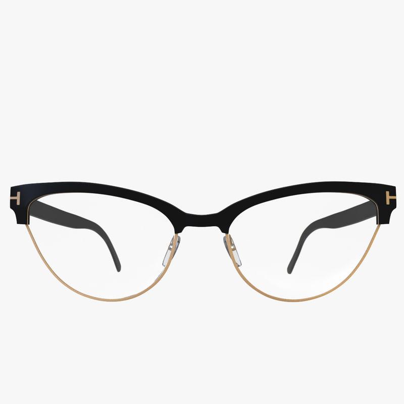 3d model slight cateye glasses