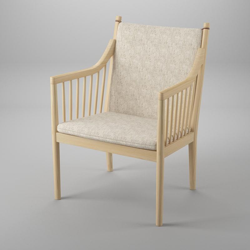 3d model pp105 wegners easy chair
