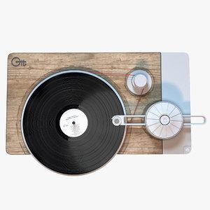 3d model turntable music