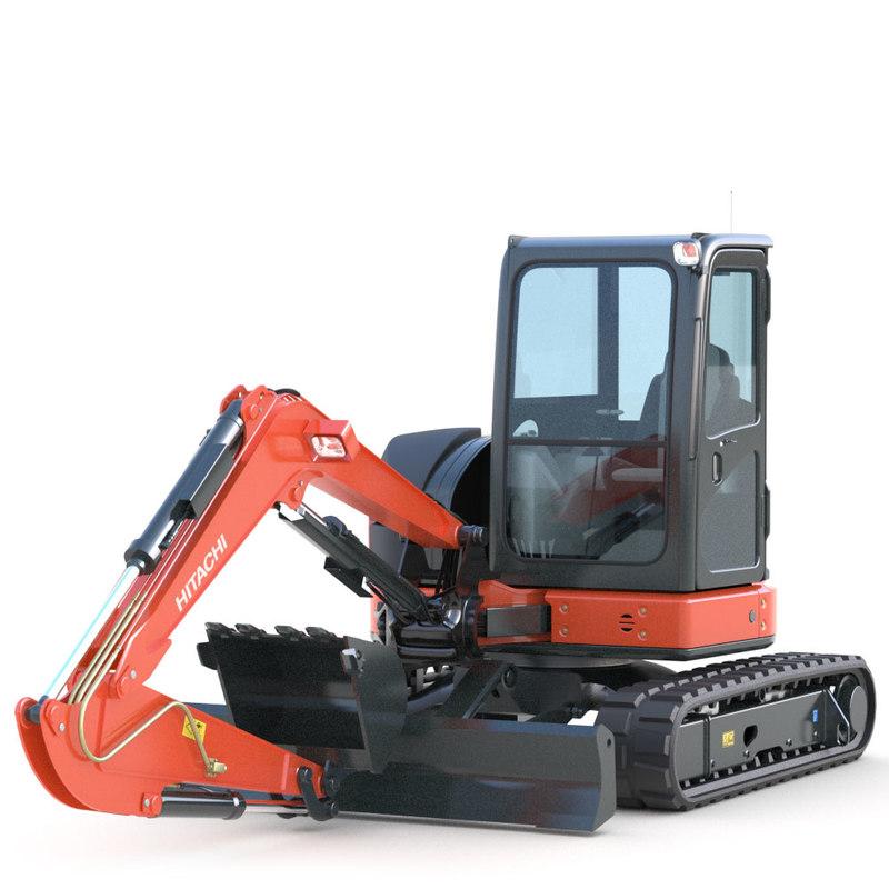 mini excavator hitachi 3d fbx