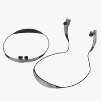 Bluetooth Headset Samsung Gear Circle Silver 3D Models Set