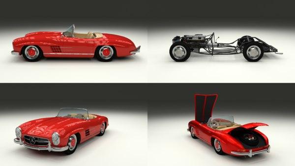 3d mercedes 300sl roadster modeled