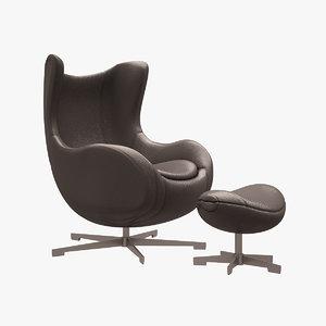 egg chair arne 3d model