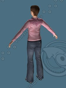 3d casual girl female