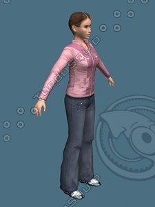 casual girl female medium 3d max
