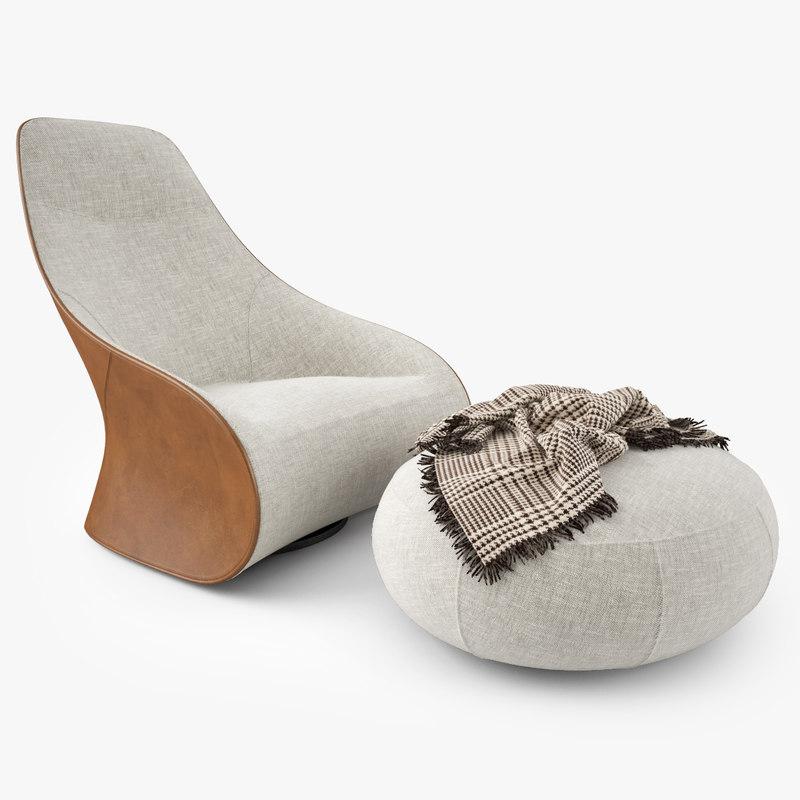 3ds max zanotta derby armchair pouf