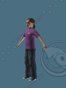 12 year old child girl 3d max