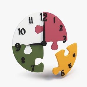 3d model puzzle clock