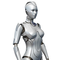 female cyborg sci-fi robot 3d model