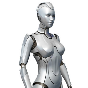 female cyborg sci-fi robot 3d obj