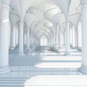 futuristic interior scene 3d model