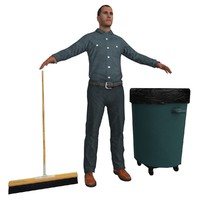 janitor man 3d model