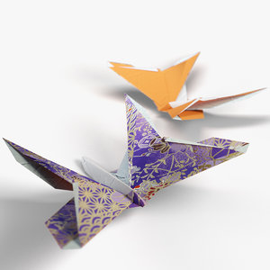 3d origami rigged butterfly