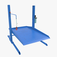Two Post Parking Car Lift Rigged 3D Model