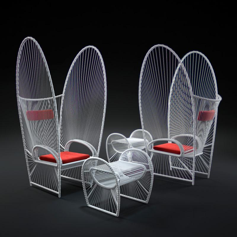 3d papillion-easy-armchair-and-ottoman model