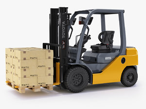 3d model of forklift toyota 8fd25 pallet