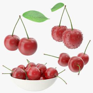3d model cherry drops droplet
