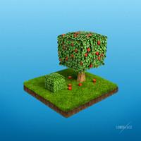 3d cube garden tree bush
