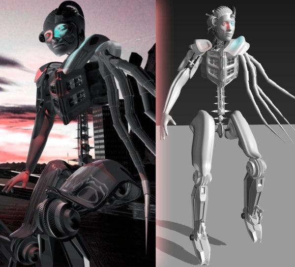 3d model rigged robot mans tentacles