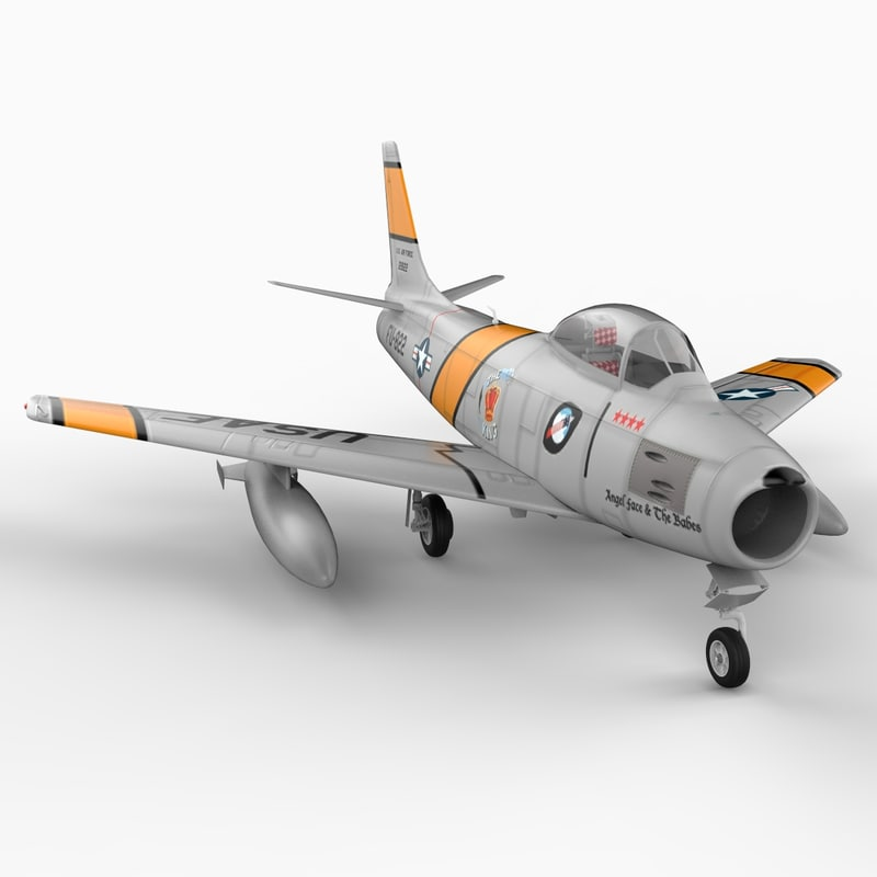 f 86 sabre jet 3d model