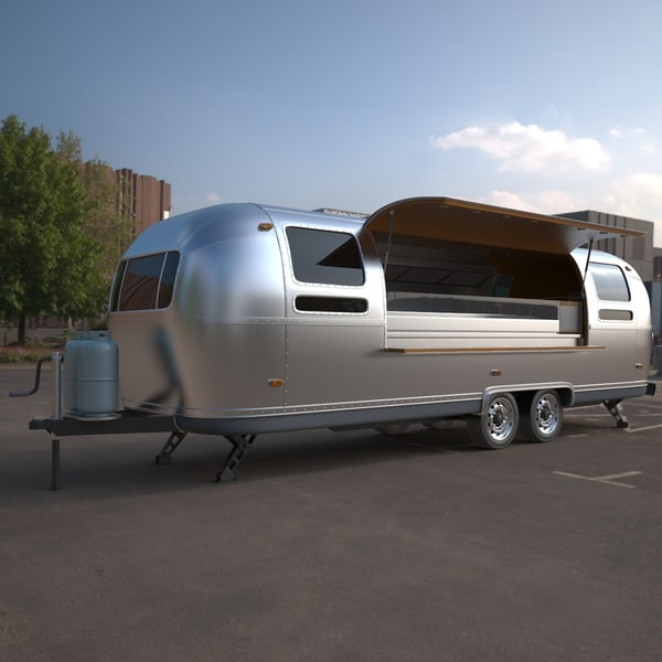 3d airstream mobile kitchen trailer model