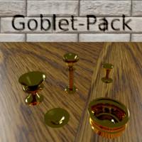set goblets gold 3d obj