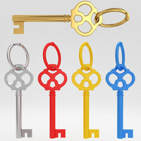 3d ancient old luxury key