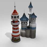 3ds castle house lighthouse