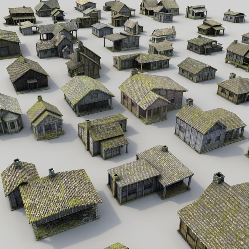 wooden buildings lost arabian 3d model