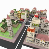 3d model cartoon city toon